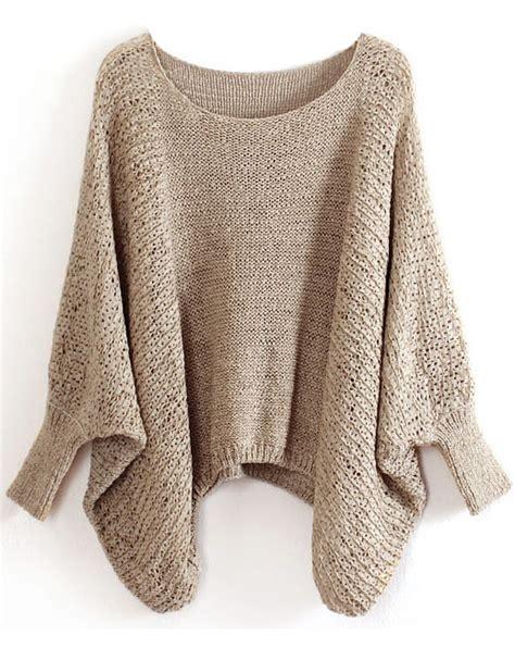 Khaki Batwing Cardigan khaki batwing sleeve hollow sweater sheinside