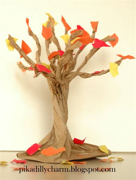 Paper Trees Craft - pikadilly charm paper bag fall tree