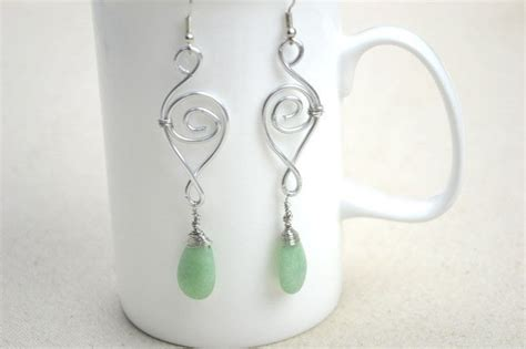 Handcrafted Earrings - jewelry designs ideas handcrafted earrings with jade drop