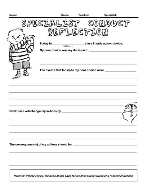 conduct sheet template free ed rubrics artful artsy