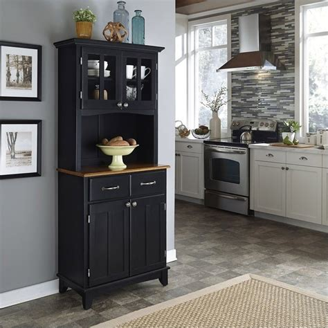 black wood buffet with cottage oak wood top and 2 door