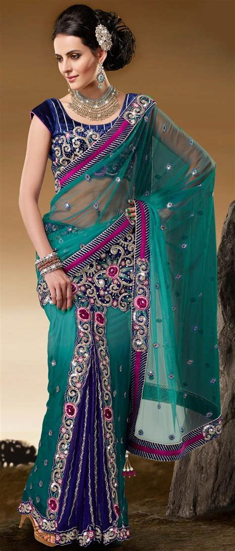 hairstyles in net saree shaded green net lehenga style saree with blouse 137