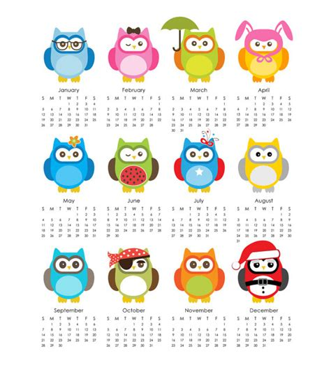 owl calendar template 5 best images of printable owl calendar printable owl