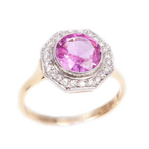 handmade pink sapphire ring in 18ct gold