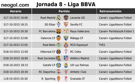 Calendario Liga Espanola Futbol Partidos Jornada 8 Liga Espa 241 Ola Bbva 2015 Liga