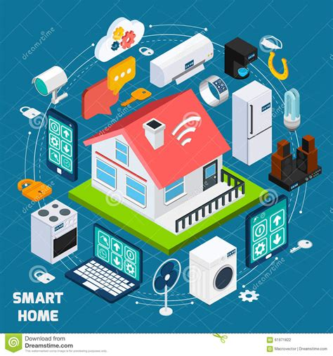 smart home tech smart home iot isometric concept banner stock vector