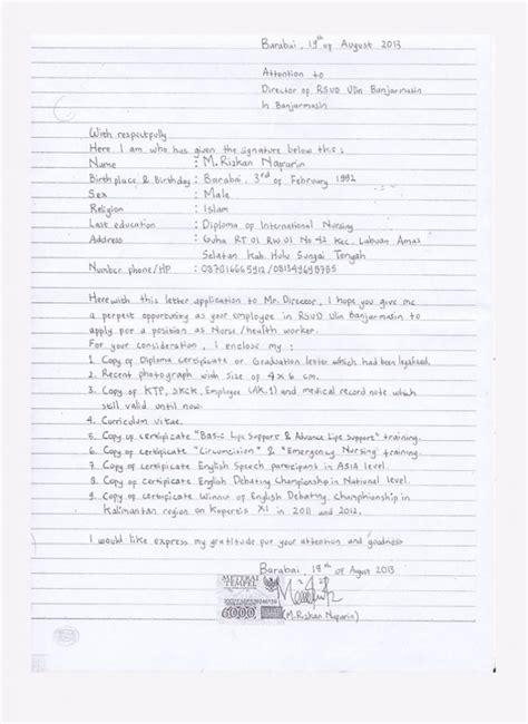Tulisan Tangan Pada Lop Lamaran Kerja by Contoh Lengkap Surat Lamaran Kerja Tulis Tangan Terbaru