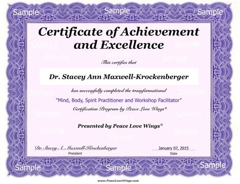 image completion certificate format download