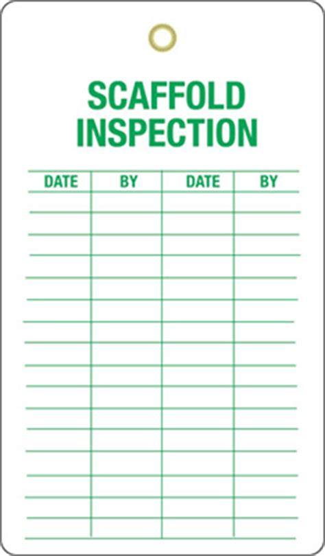 scaffold inspection checklist free template scaffolding inspection tags self laminated scaffold tags