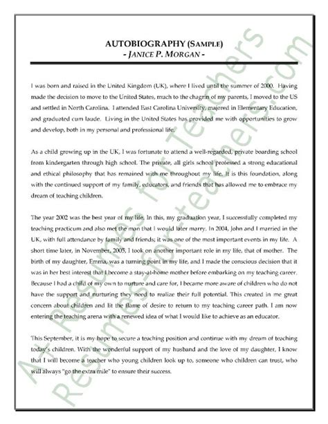 autobiographical sketch sample my autobiography essay examples