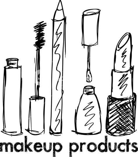 Sketch Of Makeup Products Vector Illustration Royalty Free Stock Image Storyblocks Vector Image Black White Sketch