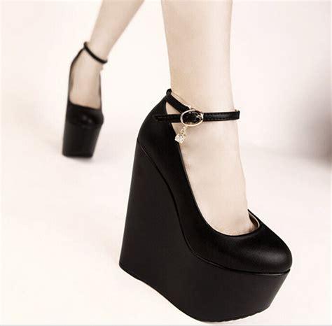 Heels Fashion Import 17 17cm high heels wedges white black shoes fashion platform pu pumps sy 1196 in