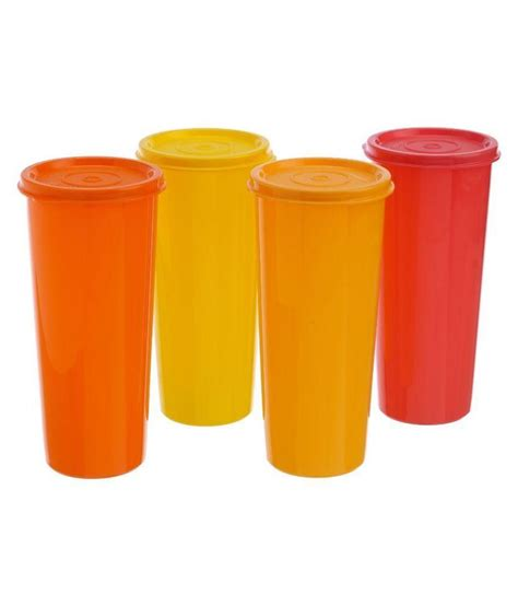 Tupperware Tumbler tupperware multicolour jumbo tumbler with lid set of 4 buy at best price in india