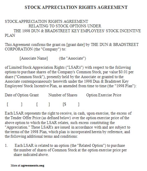 Stock Appreciation Rights Agreement Sle Stock Appreciation Rights Agreement Template Phantom Stock Agreement Template