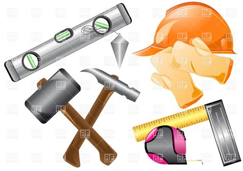 house builder tool construction tools instruments and protective clothing royalty free vector clip image
