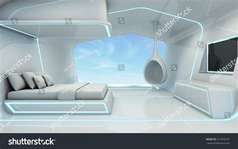 taking a stock of space lighting and design in your bedroom scifi white space blue light stock illustration