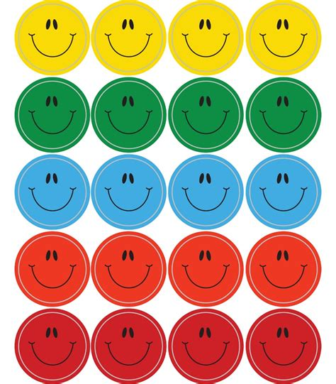 printable smiley stickers smiley faces multicolor shape stickers grade pk 5