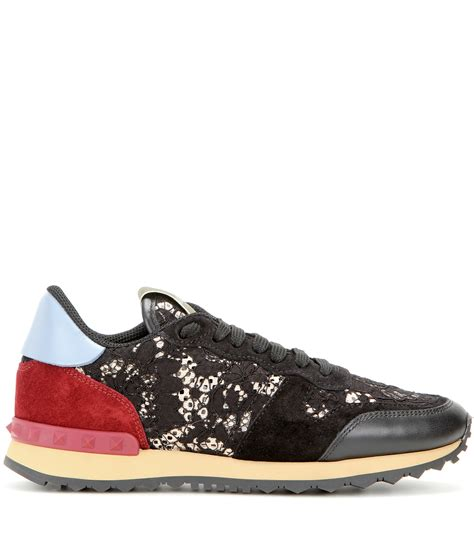 s valentino sneakers valentino rockrunner lace leather and suede sneakers lyst