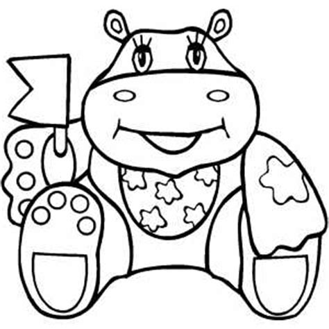 happy hippo coloring page happy hippo waving flag coloring page