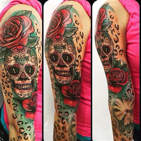 roses and leopard print tattoo new addition sugar skull with roses and leopard