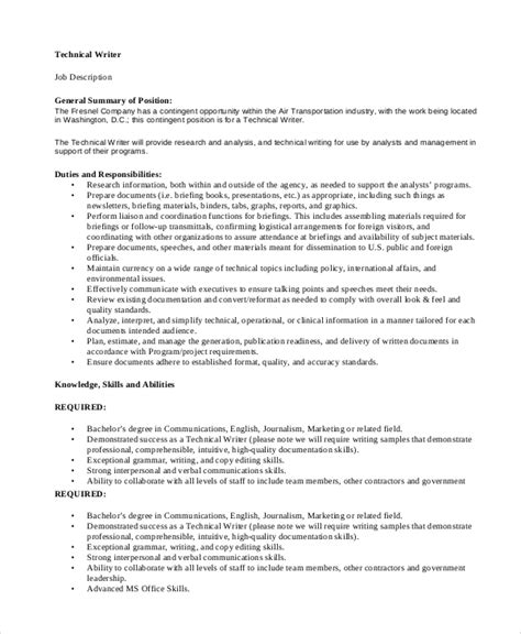 Technical Writer Description sle technical writer description 9 exles in pdf
