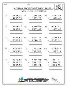 grade 5 addition worksheets decimal numbers 5th grade