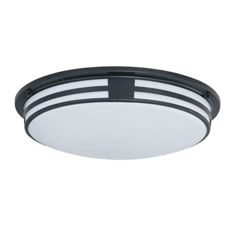 led ls home depot illumine 2 light black flush mount with white acrylic