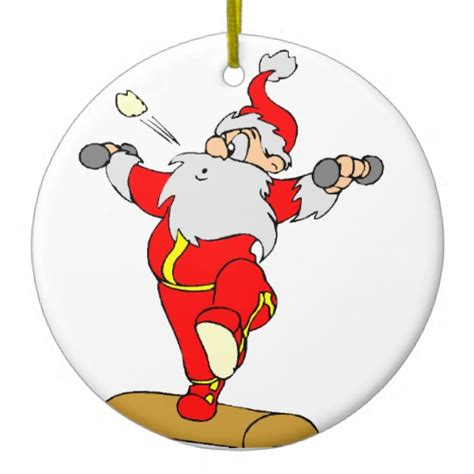 weightlifting cartoon santa christmas ornament zazzle