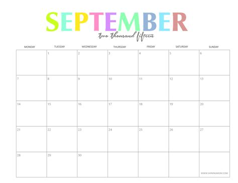 Calendar 2015 September To December The Colorful 2015 Monthly Calendars By Shiningmom Are