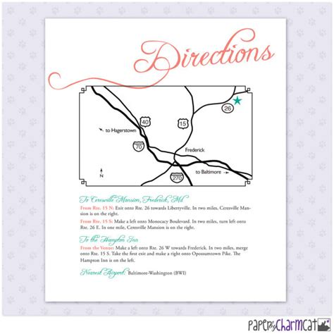 printable wedding directions printable wedding map enclosure card directions by