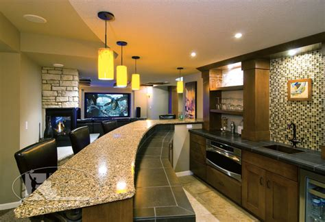 Basement Walk Behind Bar   Traditional   Basement   minneapolis   by Finished Basement Company