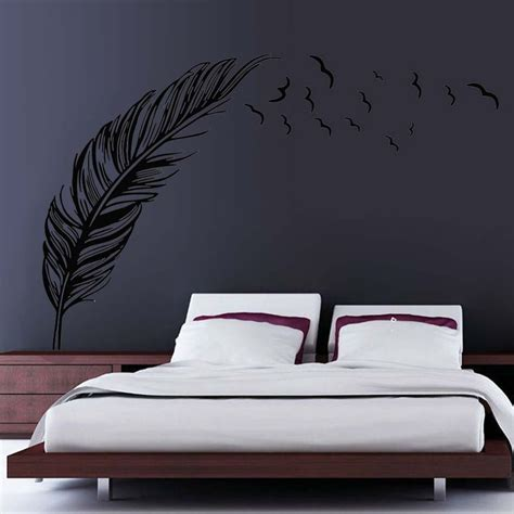 Sticker Wallpaper Flying Feather flying feather wall sticker home decor ddesivo de parede home decoration wallpaper wall sticker