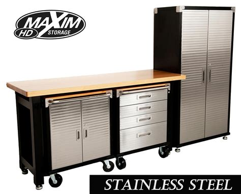 bench cabinet storage maxim hd 4 piece standard garage storage system timber