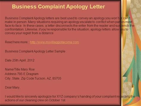 Apology Letter Ppt Complaint Letter Exle Authorstream