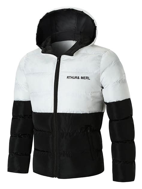 Letter Padded Jacket letter print color block puffer padded jacket in white 4xl