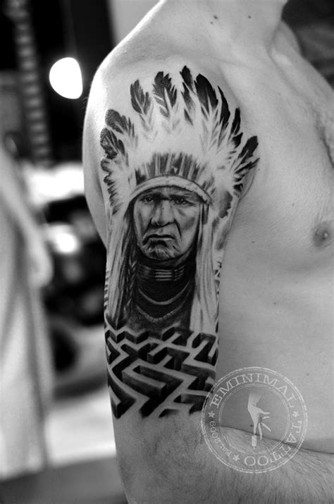 indian chief tattoo designs grey ink 3d indian chief design by todd wilson