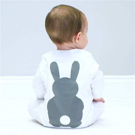Bunny rabbit baby sleepsuit by sparks clothing notonthehighstreet com