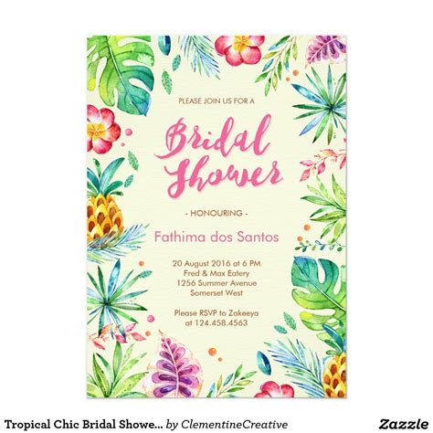 summer themed bridal shower invitations tropical chic bridal shower invitation throw a summer