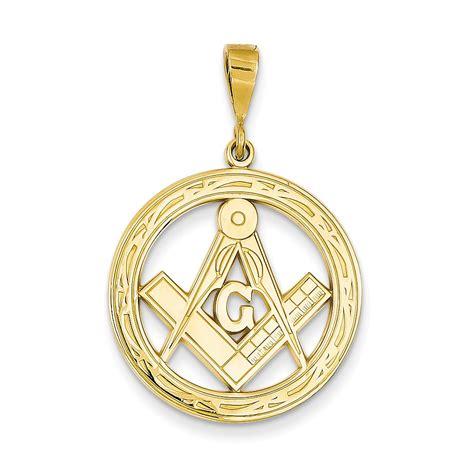 14k yellow gold large masonic charm pendant