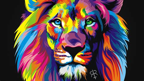 wallpapers of colorful animals colorful animals lion digital art wallpaper no