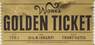 Willy Wonka Decorations Golden Ticket Front Charlie And The Chocolate Factory