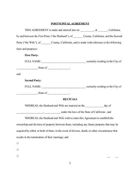 Postnuptial Agreement California Template Sle California Postnuptial Agreement