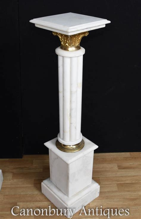 pair french empire marble pedestal stands column tables