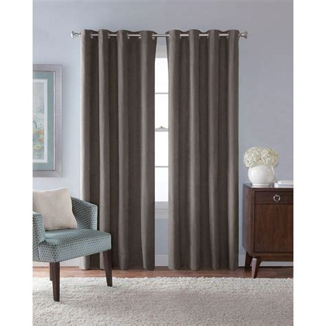 grey drapes with grommets solaris semi opaque grey faux suede grommet curtain 1