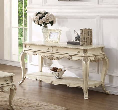 Ragenardus Sofa Table Antique White Finish Usa Warehouse Antique White Sofa Tables