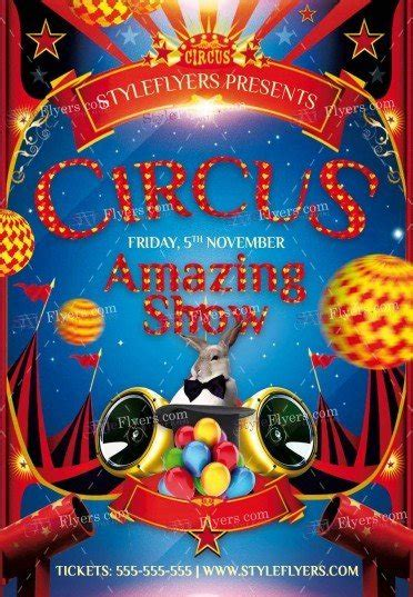 Circus Psd Flyer Template 12427 Styleflyers Circus Poster Template Free