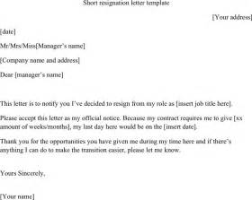 Sle Of Resignation Letter by Free Resignation Letter Template Docx 14kb 1 Page S