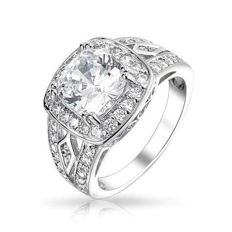 sterling silver 4k cz vintage engagement ring