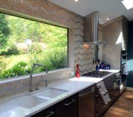 kitchen after cabinets glass tile backsplash