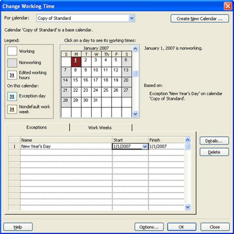 Microsoft Project 2007 project ms project 2007 changing working time